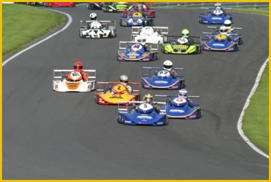Superkarts preparing for the start